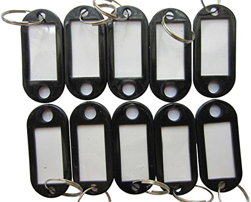 LeBeila Hotel Key Labels Tags - Key Id Identifiers Label Tags for Key Organizer with Split Ring Keyring Keychain 100PCS Set (Black)
