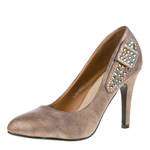 Schuhe, yjg Damen Pumps Brown - Bronze Braun