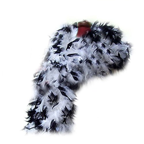 SACASUSA (TM) 100g Turkey Feather BOA Brand New in POLY BAGS ! Turkey Feather Chandelle Boa 6 feet long (11 colors to Pick) (White BlackTips) -