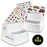 TWO Kids Step Stools with Stickers to Decorate | Wide Step, Dual Height, Slip Resistant, and a Soft Grip | Ideal Toddler Stool for Toilet and Potty Training | Use in Bathroom, Kitchen, Bedside Areas: more info