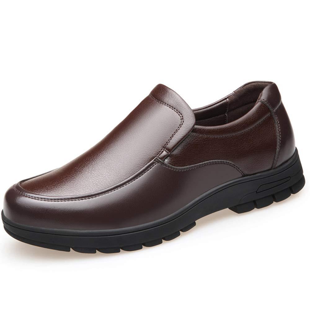 Koyi Männer Lederschuhe Casual Mittleren Alters Sätze Füße Vater Schuhe Weichen Boden Dick besohlten Schuhe Bequem Anti Rutsch Verschleißfestigkeit Braun