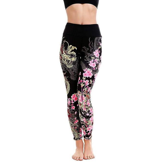 Amazon.com: 1KTon - Pantalones de yoga para mujer, diseño ...