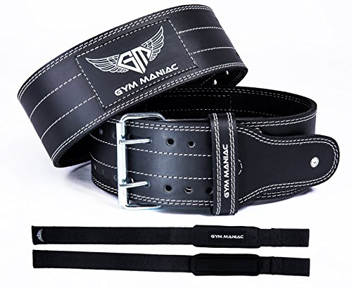 Gym Maniac Leather Gym Weight Lifting Belt with Wrist Straps | Compact, Adjustable, Comfy Fitness Belt | Improve Back Support & Stability | for Powerlifting, Crossfit, Squats