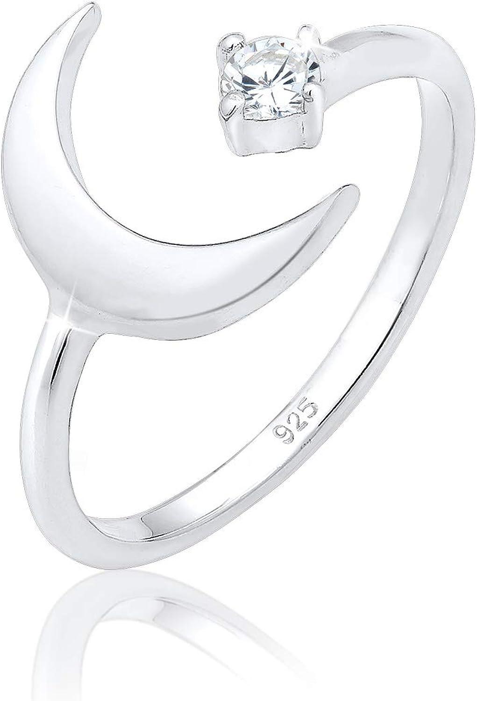 Elli Anillos con diseño de media luna para mujer con cristales de circonita en plata de ley 925