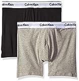 Calvin Klein Men's Underwear 2 Pack Modern Cotton Stretch Boxer Briefs, Grey Heather/Black, Medium