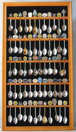 60 Spoon Display Case Cabinet Holder Rack, Glass door-OAK FINISH