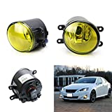 iJDMTOY® Selective Yellow Driver Passenger Sides Fog Light Lamps with H11 Halogen Bulbs For Lexus IS GS ES CT LX RX Toyota Camry Highlander Corolla Prius Scion tC, etc