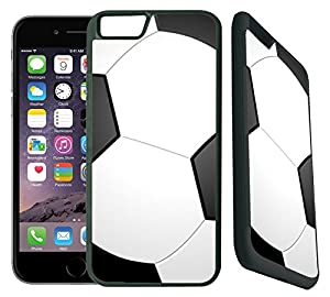 [TeleSkins] - Soccer- iPhone 6 / iPhone 6S Designer Case - Ultra Durable Slim Thin Fit and Highly Protective Black Rubber TPU Silicon Snap On Back Case / Cover for Girls.[Fits iPhone 6 & 6S (4.7inch)]