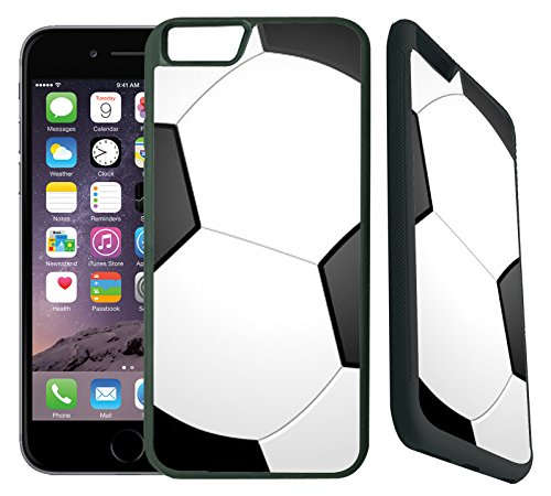 [TeleSkins] - Soccer- Designer Case For iPhone 6 / iPhone 6S - Ultra Durable Slim Thin Fit and Highly Protective Black Rubber TPU Silicon Snap On Back Case / Cover for Girls.[Fits iPhone 6 & 6S] (E Ink Cell Phone)