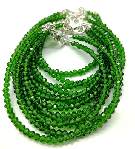 (Beauty for the semi-precious stone like Chrome Diopside 3.5 mm Faceted Beaded silver lock 7 inch Long Bracelet.)