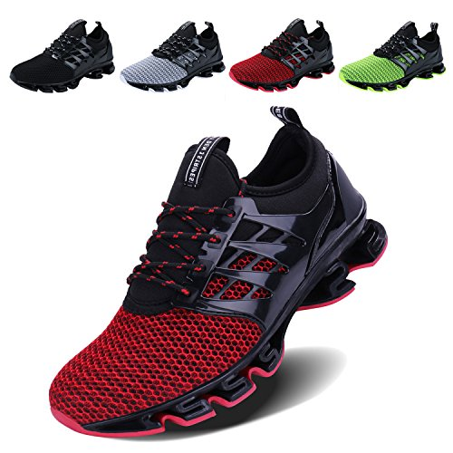 VOEN Casual Lace-up Shoes for Men Boy for Walking Running Jogging Red Size 45