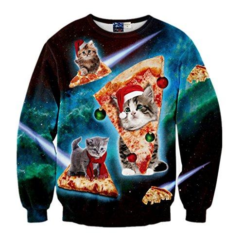 Fashion-Plus Velvet Sweatshirts Christmas Cartoon Cat Pizza 3D Sweater L Christmas Mens Fashion