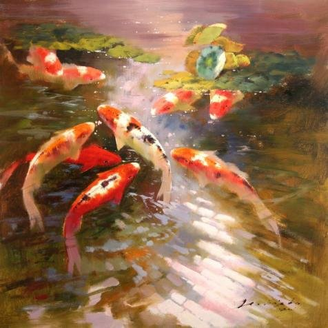 ['Caps In The Pond' Oil Painting, 24x24 Inch / 61x61 Cm ,printed On High Quality Polyster Canvas ,this High Resolution Art Decorative Prints On Canvas Is Perfectly Suitalbe For Home Office Gallery Art And Home Gallery Art And Gifts] (Halloween Costumes Rentals Dallas)