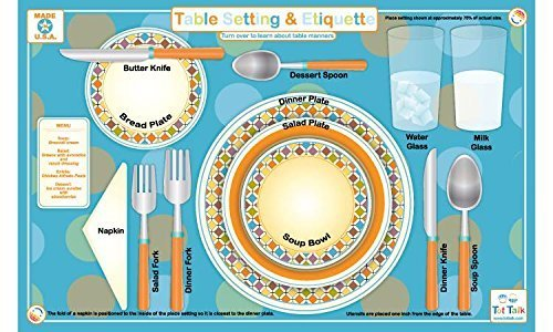 Tot Talk Table Setting & Etiquette Educational Placemat for Kids, Washable and Long-Lasting, Double-Sided, Made in The…