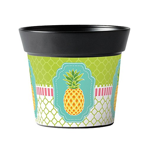 Studio M Handcrafted Garden Art Metal Flower Pot, 5.5-Inches Tall, Preppy Pineapple