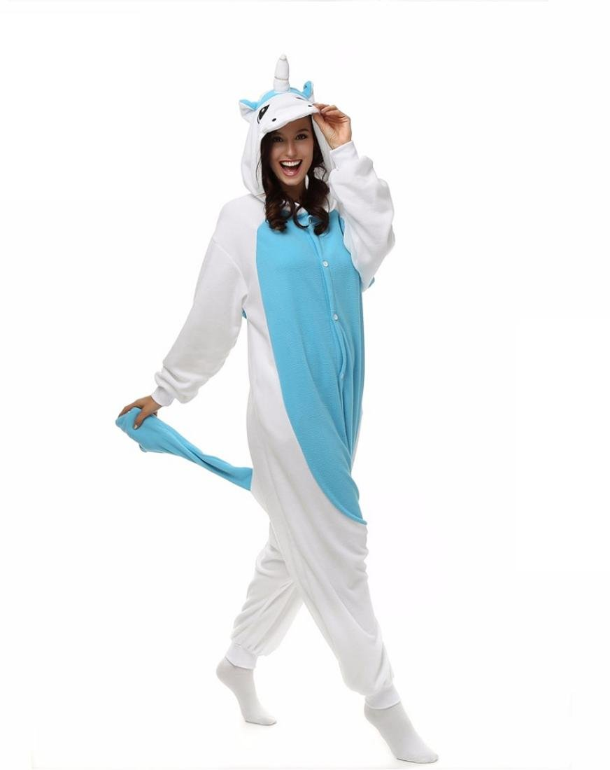 Amazon.com : HYY@ Kigurumi Pajamas Unicorn Leotard/Onesie Halloween Animal Sleepwear Blue Patchwork Polar Fleece Kigurumi UnisexHalloween / Christmas ...