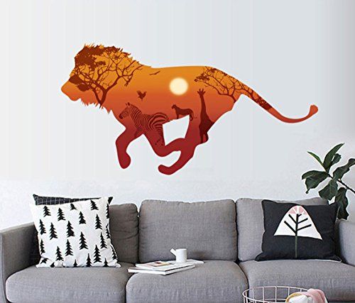 Cheap  Light up in the Dark African Grasslands animals 3d Nordic Style Lion..
