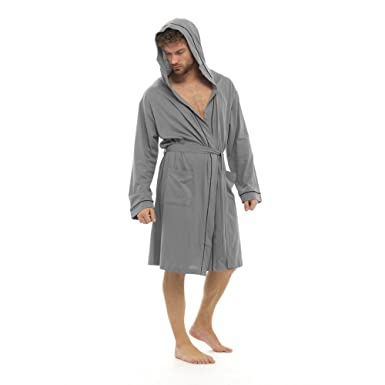Foxbury Mens Hooded Dressing Gown Bath Robe Wrap Soft 100% Cotton Jersey  Summer Lightweight Kimono  Amazon.co.uk  Clothing 13b8f8fe2