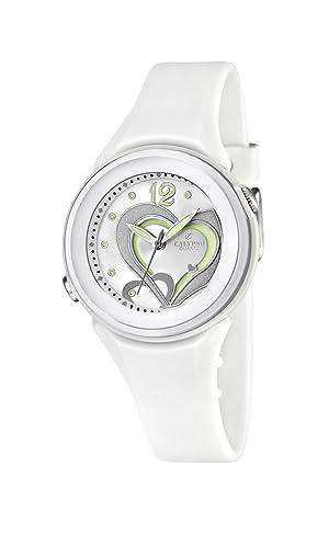 Calypso Watches K5576/1 - Reloj analógico de Cuarzo para niña, Correa de Goma Color Blanco: Amazon.es: Relojes