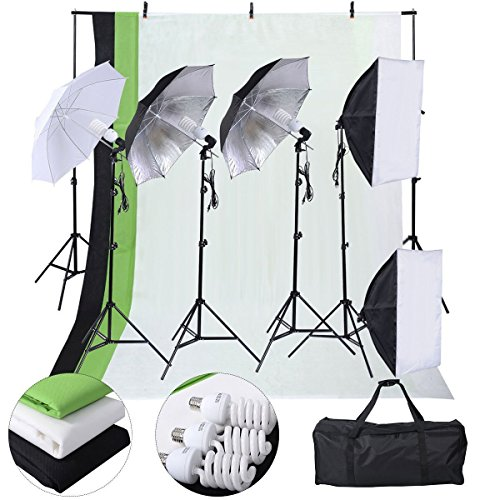 Safstar Photography Lighting Kits for Beginners, Includes Chromakey Studio Background Stand, 3 x Backdrops (Green Black White), 3 x Umbrellas Kits, 2 x Softboxs Kits, 3 x Clamps, 2 x Carry Bags from S AFSTAR