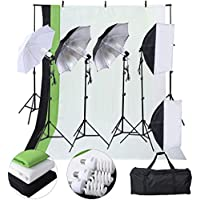 Safstar Photography Lighting Kits for Beginners, Includes Chromakey Studio Background Stand, 3 x Backdrops (Green Black White), 3 x Umbrellas kits, 2 x Softboxs kits, 3 x Clamps, 2 x Carry bags
