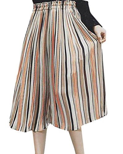 Ruched Wide Leg Gaucho (Papijam Womens Elastic Waist Ruched Stripe Capri Wide Leg Pants Pink L)