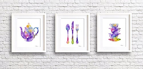 "Set of 3 Kitchen Art ""Teapot, Knife Fork Spoon, Stacked Cups"" Abstract Waterc..."