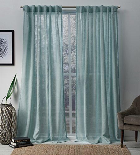 Exclusive Home Bella Window Curtain Panel Pair with Hidden Tab Top, 54x96, Seafoam, 2 Piece