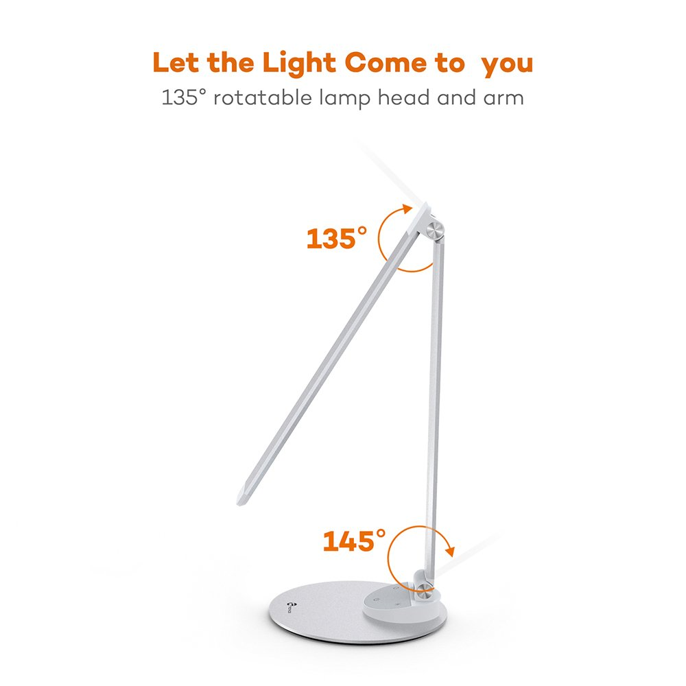 TaoTronics LED Desk Lamp with USB Charging Port, Eye- care Dimmable Lamp, 5 Color Temperatures with 5 Brightness Levels, Touch Control, Metal, Official Member of Philips EnabLED Licensing Program by TaoTronics (Image #4)