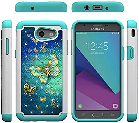 Firefish Galaxy J3 2017/J327 Case,2 Layer Case Back Cover Hard PC with Colorful Pattern & Point Drill Inner Soft TPU Bumper Shockproof Case Compatible ...
