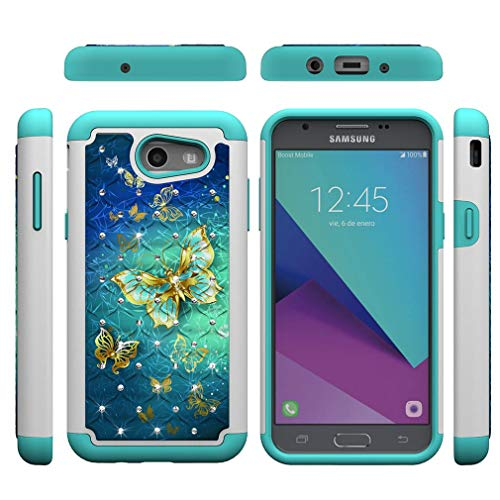 Firefish Galaxy J3 2017/J327 Case,2 Layer Case Back Cover Hard PC with Colorful Pattern & Point Drill Inner Soft TPU Bumper Shockproof Case Compatible with Samsung Galaxy J3 2017/J327 -Butterfly B