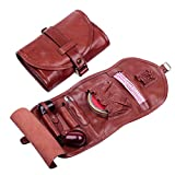 Cheap Handmade Genuine Leather Pipe Tobacco Pouch Bag Organize Case Pipe Tool lighter Holder Pocket for 2 pipe Vintage Unisex Red wine