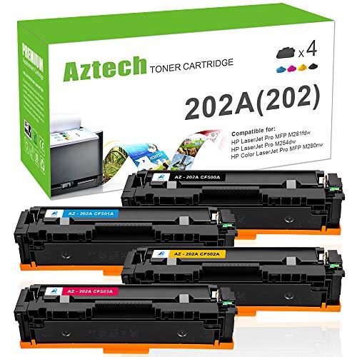 Aztech 4PK Compatible for HP 202A 202X MFP M281FDW M254DW Toner Cartridge for HP Laserjet Pro MFP M281fdw M254DW M281cdw M281DW M254DN M254NW M280NW M254 M281 Ink Printer (CF500A CF501A CF502A CF503A)