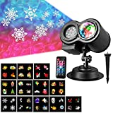 Christmas Projector Lights, Water Wave Holiday Projector Light with 12 Slides Moving Pattern 2 in 1 Outdoor/Indoor Party Landscape Garden Decoration Led Lighting Projector with Remote Controller