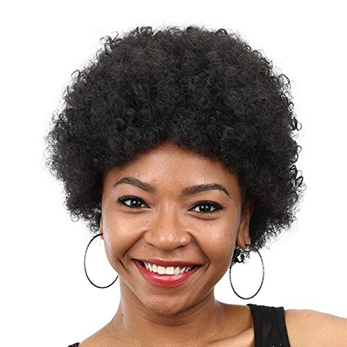 Synthetic Short Wigs For Black Women Curly Afro Kinky American With Heat Resistant Hairstyle #2 10inches