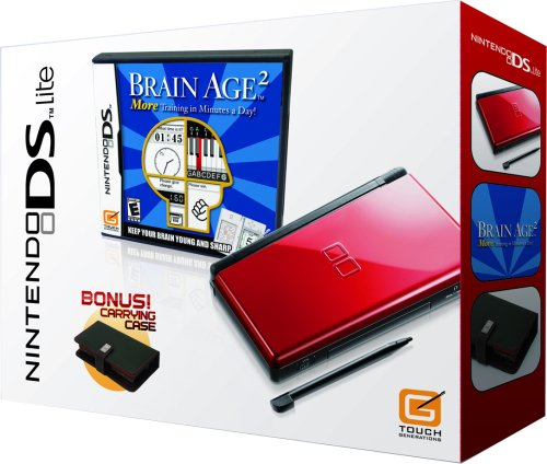 Nintendo DS Lite Crimson & Black with Brain Age 2 (Bundle Ds System Nintendo Lite)
