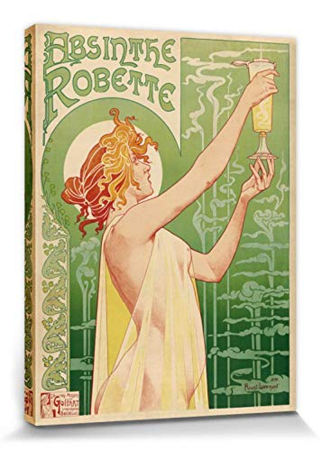 Historical Advertisement Stretched Canvas Print - Green Fairy, Absinthe Robette, Henri Privat Livemont, 1896 (16 x 12 inches)