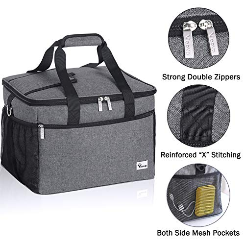 Grocery Shopping Picnic Insulated Leakproof Soft Sided Coolers Portable Lunch Box Large Cooling Tote for Camping 40-Can Black Beach BBQ Sports Voova Collapsible Cooler Bag Lunch Bag Travel