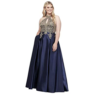 David\'s Bridal Metallic Lace and Satin Round Neck Plus Size Prom ...