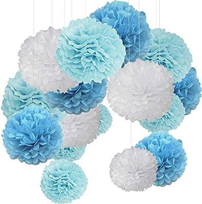Lote de 15 pompones de papel seda en forma de flor redonda ...