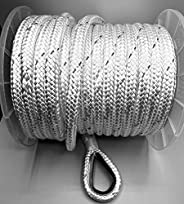 """Empire ropes Nylon Anchor line Double Braided for Marine, Boat, Rigging Ropes 1/2""""x100' with 316 Stainless Les"""