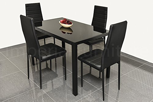 DESIGNER STYLE BLACK GLASS DINING TABLE SET WITH 4 FAUX LEATHER CHAIRS EBS My Furniture