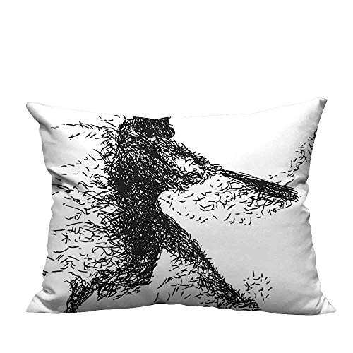 (YouXianHome Lovely Cushion Covers White Abstract Artistic Illustration of a Baseball Player Posing Sports Black White Resists Stains(Double-Sided Printing) 19.5x26)