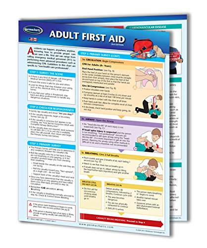 Adult First Aid Guide - Medical - Emergency Quick Reference Guide by Permacharts