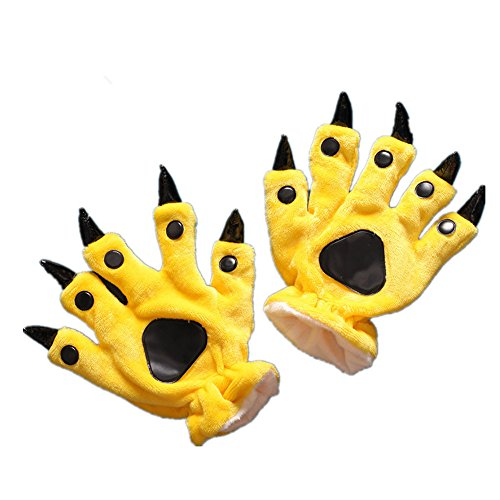 Unisex Paw Claw Winter Finger Gloves for Halloween Costume Yellow L