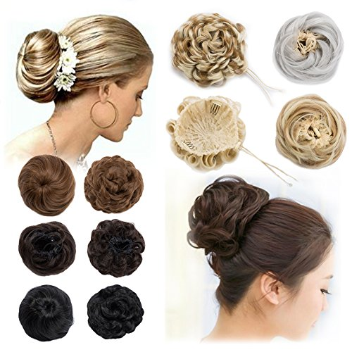 Scrunchy Chignons Updo Hair Bun Straight Wavy Donut Hairpiece Extensions with Drawstring&Clip Ombre Blonde Brown Black ()