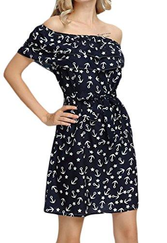 Ruffled Casual Belt 4 Dress Jaycargogo Women Mini With off Shoulder wvnUqt1