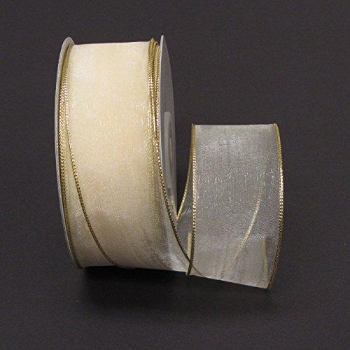 Ribbon Bazaar Wired Metallic Edge Organza 1-1/2 inch Ivory (Gold Edge) 25 yards Ribbon (Ribbon Wired Organza Ivory)