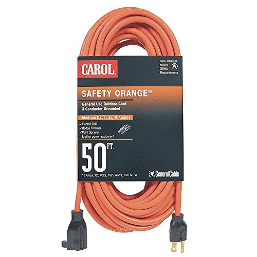 General Cable 06853.63.04, 50ft Extension Cord, OUTDOOR, Orange