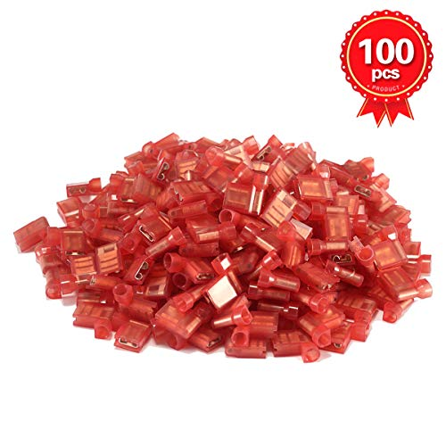 XHF 22-18 AWG Flag Shaped Spade Connectors Terminals Nylon Fully Insulated Quick Crimp Wire Connectors 100 Pcs Red